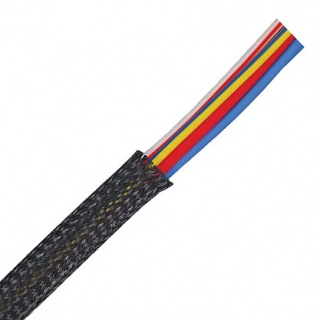 0-325-38 10m Black Expandable Flame Retardant Braided Sleeving 38.1mm ID