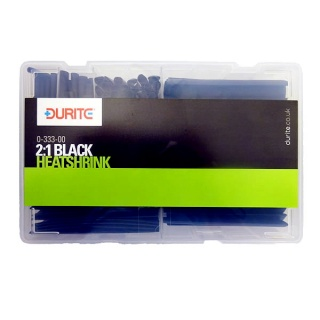 0-333-00 Durite 2:1 Black Heatshrink Cut Length Assorted Box