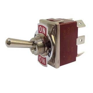 0-349-02 Changeover or On-Off-On Double Pole Toggle Switch 10A
