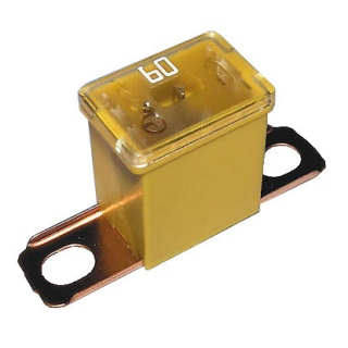 0-379-66 Yellow Male PAL Short Leg Automotive Fuse 60A
