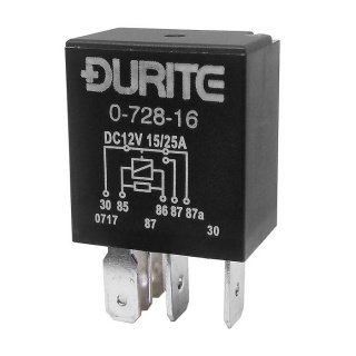 0-728-16 Durite 12V 15A-25A Micro Changeover Relay with Resistor