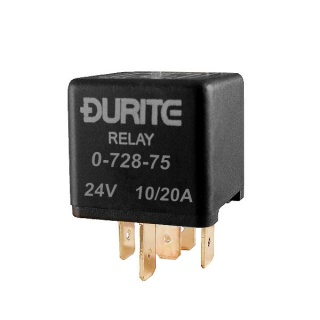 0-728-75 Durite 24V 10A-20A Mini Changeover Relay with Sealed Resistor
