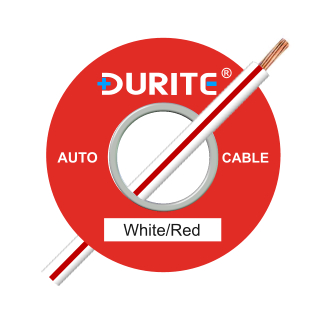 0-932-75 100m x 1.00mm² White-Red 16.5A Auto Single Core Cable
