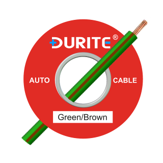 0-942-43 50m x 1.00mm² Green-Brown 8.75A Auto Single Core Cable