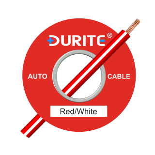 0-942-57 50m x 1.00mm² Red-White 8.75A Auto Single Core Cable