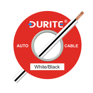 0-942-71 50m x 1.00mm² White-Black 8.75A Auto Single Core Cable