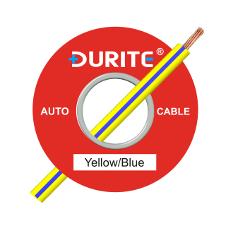 0-942-82 50m x 1.00mm² Yellow-Blue 8.75A Auto Single Core Cable