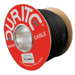 0-986-10 30m Roll Durite 3 Core Round Flexible Mains Cable Black Rubber 10A
