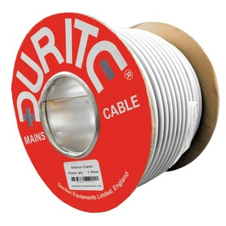 0-989-00 30m Roll Durite 3 Core Round Flexible Mains Cable White PVC 15A