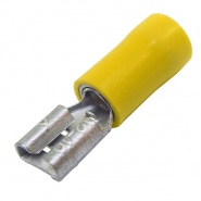 0-001-18 Pack of 50 Coloured Crimp Terminal 6.30mm Push-On Yellow