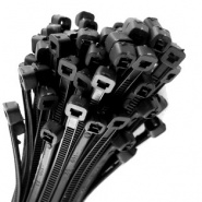 0-002-49 Pack of 100 Durite Black Cable Ties 370mm x 7.6mm