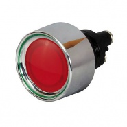 0-485-05 12V Momentary On Red LED Lit Single Pole Push Button 20A