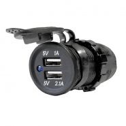 0-601-08 Black 12V USB Port Socket with Two USB Ports