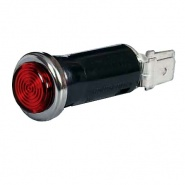 0-609-05 Red Warning Light with 12V 2W BA7s Bulb Chrome Bezel
