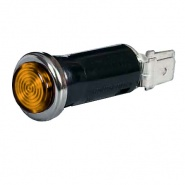 0-609-10 Amber Warning Light with 12V 2W BA7s Bulb Chrome Bezel
