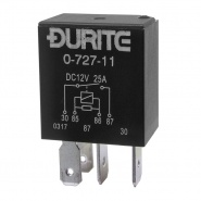 0-727-11 Durite 12V 25A Micro Make and Break Relay with Resistor