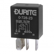 0-728-23 Durite 24V 10A-15A Micro Changeover Relay with Resistor