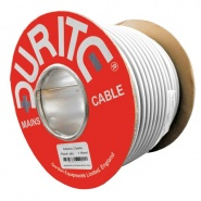 0-988-00 30m Roll Durite 3 Core Round Flexible Mains Cable White PVC 10A