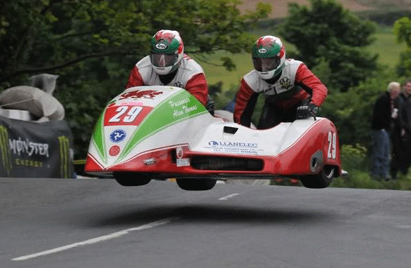 Keith Walters and his sidecar outfit at the Ballaugh Bridge on the TT circuit in the Isle of Man